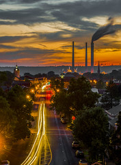 Main Street Sunset (Bernie Kasper (5 million views)) Tags: art berniekasper color d600 evening family historic history histrorichomes indiana jeffersoncounty light landscape love longexposure madisonindiana madisonindianacliftyfallsstatepark mainstreet madison nature nikon naturephotography new night outdoors outdoor old outside ohioriver photography photos raw red summer travel unitedstates usa sky fun