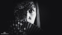 Intimate (einhundertstel.eu) Tags: hand fan mask girl blackandwhite bnw bw black white woman portrait art dark