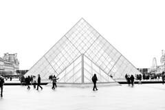 The pyramid. (erkahem) Tags: canon6dmarkii canon50mm louvre white whitesky clouds cloudy fog architecturephotography architecture structure paris blackandwhite blackwhite bnw monochrome
