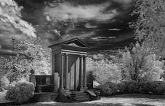 Architectural Facade (4 Pete Seek) Tags: oaklandcemetery cemetery atlantacemetery historiccemetery infrared supercolorinfrared infraredconvertedcamera blackwhite blackandwhite whiteandblack bw lifepixels