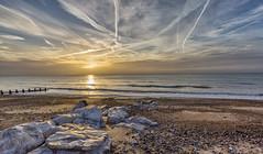 Big skies at flat rock (Through Bri`s Lens) Tags: lancing sussex lowtidebeach beach rocks contrail sunrisebeachlow brianspicer canon5dmk3 canon1635f4