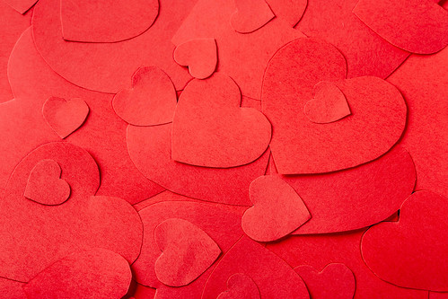 St. Valentine day background with red hearts