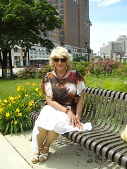 Summertime, And The Livin' Is Easy (Laurette Victoria) Tags: park summer downtown blonde skirt sunglasses woman laurette milwaukee