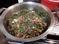 mustard greens (Just Back) Tags: mustard brassica brassicaceae vitamins minerals garden fresh green red bacon hot wilt grease stove cooking spring comida taste savor sabor onion sizzle simmer food prep knife leaves aroma