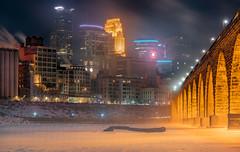 Stone Arch Bridge, Minneapolis, MN (Chad Davis.) Tags: sonya7rii minnesota minneapolis polarvortex cold downtownminneapolis cityscape skyskrapers landscape winter mississippiriver river mississippi stonearchbridge trainbridge