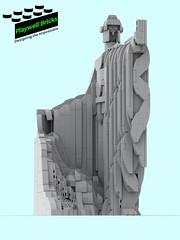 The Argonath WIP - Isildur - Front (Gray Scale) (Playwell Bricks) Tags: lego legotechniques legoideas lordoftherings theargonath isildur art architecture engineering creativity design statue