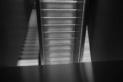 stairs & reflection (christikren) Tags: stairs museum grey austria architecture abstract christikren exhibition lines light monochrome noiretblanc reflection sw geometry