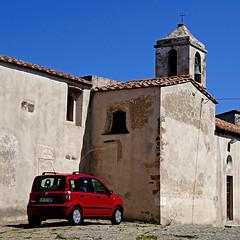 Populonia, Toscana, Italia (pom'.) Tags: livorno piombino populonia tuscany toscana italy italia 2018 april panasonicdmctz101 car fiat fiatpanda red church bell europeanunion 100 200