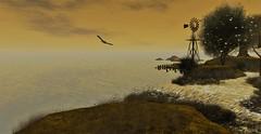 Serenity (♥Tia♥) Tags: sky water bird windmill jetty light portrait seagull sl secondlife