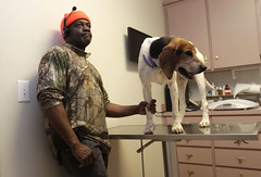 Willy Reid, 48, a tuck driver from Etenton, Georgia, visits Durham Veterinarian Clinic to get his dog examined.