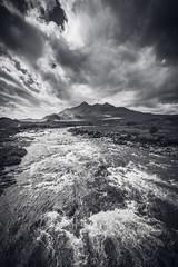 sligachan, Isle of Skye (Fred Jouvet) Tags: ecosse fuji skye voyage xt2 scotland highlands isle sligachan river clouds cloudy day munroe hills mountains bw monochrome travel