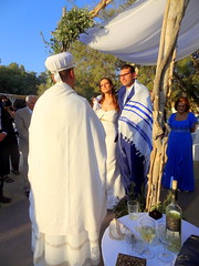 Wedding Ceremony (dimaruss34) Tags: newyork brooklyn dmitriyfomenko image sky greece antiparos beachhouseresort newlywed pabbi chuppah woman table wine tree