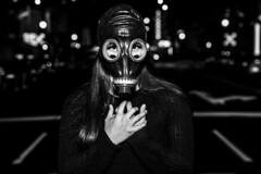 Pollution... (micadew) Tags: micadew interesting interestingfaces bnw blackwhite gasmask mask gas monochrome streetwear streetshots streetscene urbanscene urbanshots models modgirls modeling moody apocalypse urbanwear urbanlife