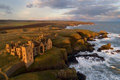 Slains Castle, Aberdeenshire (iancowe) Tags: slains castle drone dji phantom 4 pro evening sunset windy stormy wave waves storm scotland scottish dracula cruden bay peterhead aberdeenshire ruin ruins crudenbay bramstoker