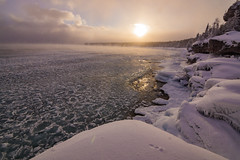 Brisk and Beautiful (JeffMoreau) Tags: tobermory ontario canada ca sony a77 brisk beautiful indian head cove pancake ice frost frozen wonderland winter snow snowy bruce peninsula