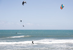 kitesurfers (Virginia McMillan) Tags: newplymouth fitzroy newzealand beach coastal blue water sports kitesurfing air