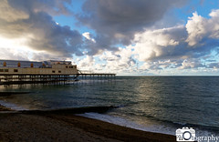 Aberystwyth Pier in the Evening (Mike House Photography) Tags: aberystwyth pier seafront sea ocean promenade boardwalk beach water waves high tide low views looking searching flowing day light sunny night evening setting blue white sand landscape buildings architecture beautiful scenic