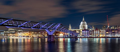 Colourful Night (AnthonyPaul_) Tags: st pauls millenium bridge london city cityscape black white bw travel water river thames buildings tate exposure light long low modern night architecture building structure infrastructure skyline