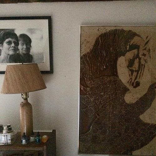 "Photo by Jon Katz of Maria Wulf and me next to my old Batik ""Horse Confronts Speckled Bird"" #studio #portrait #batik #horse #mythic Bird #amityfarmbatik"