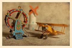 At the Fair (N.the.Kudzu) Tags: tabletop stilllife toys ferriswheel windmill biplane canoneosm canoneflens photoscape