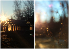 lighthouse (taralees) Tags: ealrymorning sunrise winter maine henhouse sunshine gold diptych two