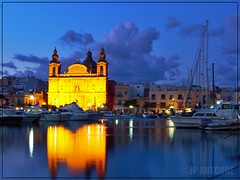 Msida Harbour overlooking Msida Parish Church as dusk sets. (jpartcore) Tags: mirror msida malta harbourside harbour water jpartcore reflections
