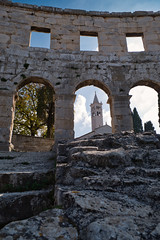 A church through an arch (ORIONSM) Tags: pula croatia church arch arena landscape sky clouds tower steeple travel vacation holiday panasonic tz100 lumix