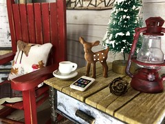 In the cabin (Foxy Belle) Tags: cabin woods dollhouse barbie blythe ooak paper furniture makr winter woodsy cozy birch bark 16 scale playscale room living table rocking chair deer bottle brush tree christmas rustic