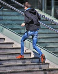 IMG_7634 (Skinny Guy Lover) Tags: outdoor people candid guy man male dude runner running runningup staircase stairs jeans bluejeans hoodedjacket slender glasses