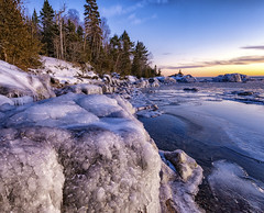2613 Frozen Shoreline (samoht35) Tags: thomasdetert landscape lakesuperior lake water ice packice trees frozen nikon d810 ontario canada greatlakes