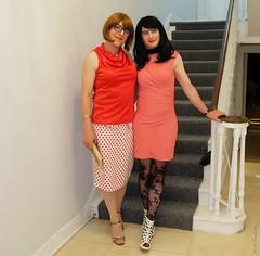 Night out Dublin 5 (eileen_cd) Tags: th polkadot redblouse goldclutch highheels redhead pinkdress patternedtights glasses crossdresser transvestite cd tv dublin