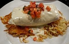 Breakfast Burrito (ricko) Tags: burrito breakfast hashbrowns salsa food restaurant theshack cheese plate