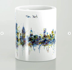 New York skyline Coffee Mug (marianv2014) Tags: newyork manhattan statueofliberty watercolor watercolour skyline skylineart skylinepainting aquarelle blue splatters splashes watercolorpainting watercolorskyline cityart citysymbols modernpainting americancities artgifts affordableart illustration artwork art colorful beautiful contemporary america decor landmark coffee mugs