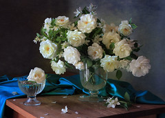 Still life with a bouquet of white roses (Tatyana Skorokhod) Tags: stilllife bouquet roses decor flowers indoors