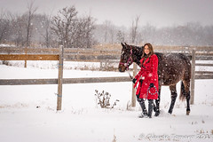 Emily 02 (Claude Tomaro) Tags: yellow red emily chartrand ottawa ontario canada snow snowing ranch horse claude tomaro fence