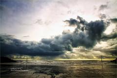 Super Sky (rick hathaway photography) Tags: rhfo2o canon canoneos7d elmer elmersands bognorregis westsussex beach sea seaside sky sand waves horizon seadefences channelmarker clouds sun light
