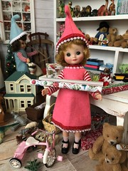 1. Busy elves (Foxy Belle) Tags: doll christmas 16 scale santas workshop toy north pole toys miniature dollhouse barbie diorama holiday scene room wrapping gifts hall mark ornament tiny vintage betsy mccall handmade felt elf costume