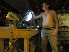 IMG_3106 12-21-2018 (PGK88) Tags: shirtless barechested skin man male guy pose portrait selfportrait dark workshop basement tools workbench saw powersaw mitersaw light indoors 2018 365 pgk88
