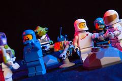 family reunion (Chris Blakeley) Tags: lego benny astronaut alien toyphotography minifig legospace
