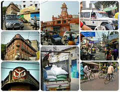 streets of Varanasi - collage2 (juggadery) Tags: 2015 india varanasi benares banaras kashi cityoflight urban architecture building transport people