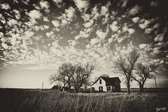 Farm (J K German) Tags: oklahoma abandoned old house ruin decay blackandwhite cloud clouds sepia trees tallgrass prairie