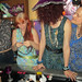 20180223 2322 - Rainbow Party #14 - Paisley - Liz, Carolyn, Clio, Beth - opening gifts - derpy face - 18130033