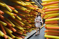 (@AmirsCamera) Tags: bangkok colour color yellow orange funny fun lady woman walking streetphotography street city urban art design olympus omdem1 omd em1 travel trip thailand december 2018