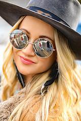 Woodstock Blonde (wyojones) Tags: montana whitefish feburary wintercarnival woodstockwhitefish 60s 1969 vintage glasses hat beautiful woman girl chick blonde hair hippie longhair feathers wyojones