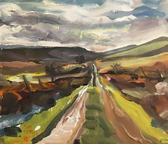 Derbyshire trackway acrylic 12 by 10 inches (Captain Wakefield) Tags: road contemporary abstract semi moors moorland derbyshire burton samuel impressionist expressionist landscape oil acrylic art painting