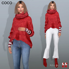 COCO Group Gift : Oversized Mohair Sweater (Red) (cocoro Lemon) Tags: coco gift christmas holiday mesh secondlife fashion oversized sweater maitreya slink belleza
