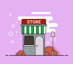 Vector store illustration in cartoon style. (elena.s.bauer) Tags: architecture background building business cafe city commercial design door exterior facade flat front house icon illustration isolated market retail shop sign store storefront street supermarket town urban vector window