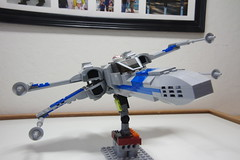 (Improved) Standard Resistance X-wing: Combat Mode Front-Right Tilted View Pic 1 (Evrant) Tags: lego star wars custom x wing moc starfighter spaceship starship ship t70 t 70 resistance evrant