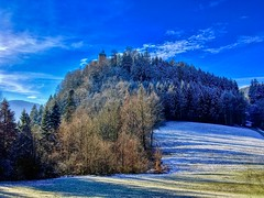 Winter forest on Thierberg mountain in Tyrol, Austria (UweBKK (α 77 on )) Tags: österreich winter snow ice forest tree sky blue white field thierberg mountain chapel scene scenic scenery landscape tyrol tirol austria europe europa iphone