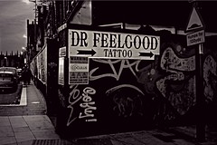 Go on....Spoil yourself (ronramstew) Tags: liverpool merseyside city tatoos sign advertising drfeelgood tatooist renshawstreet